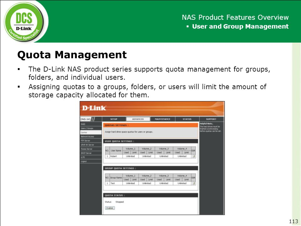 Quota Management NAS Product Features Overview