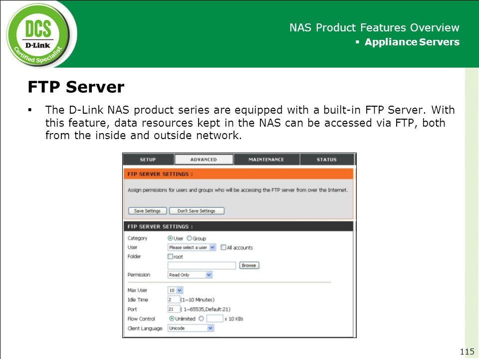 FTP Server NAS Product Features Overview