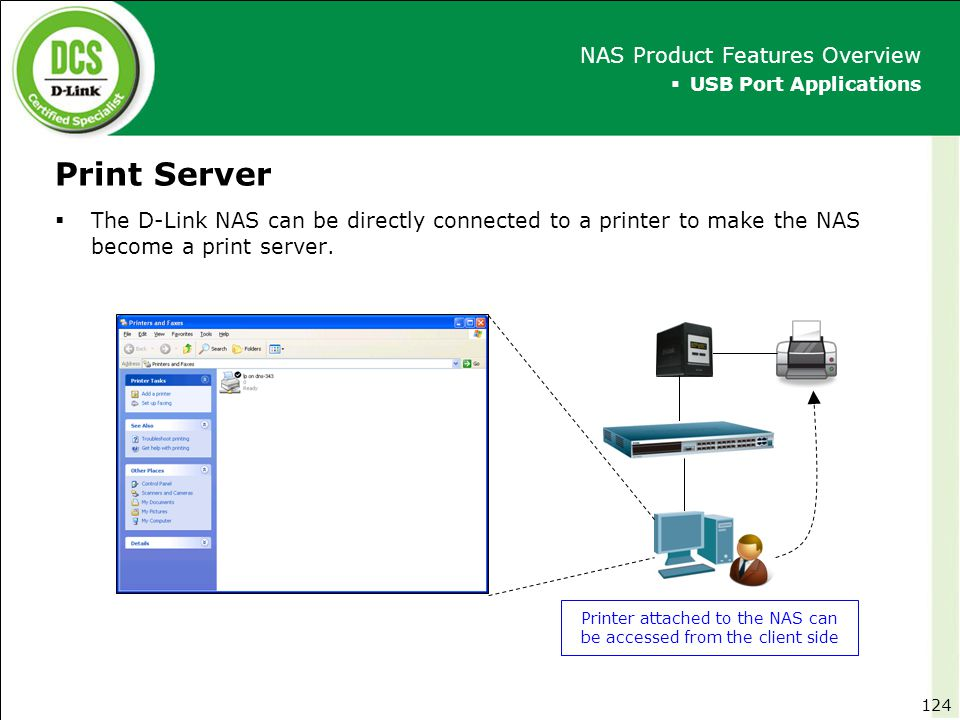 Printer attached to the NAS can be accessed from the client side