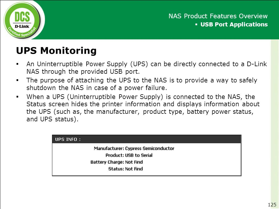 UPS Monitoring NAS Product Features Overview