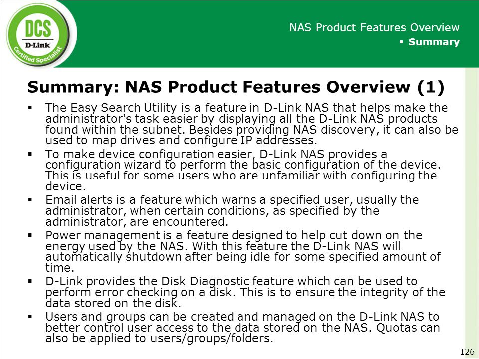 Summary: NAS Product Features Overview (1)