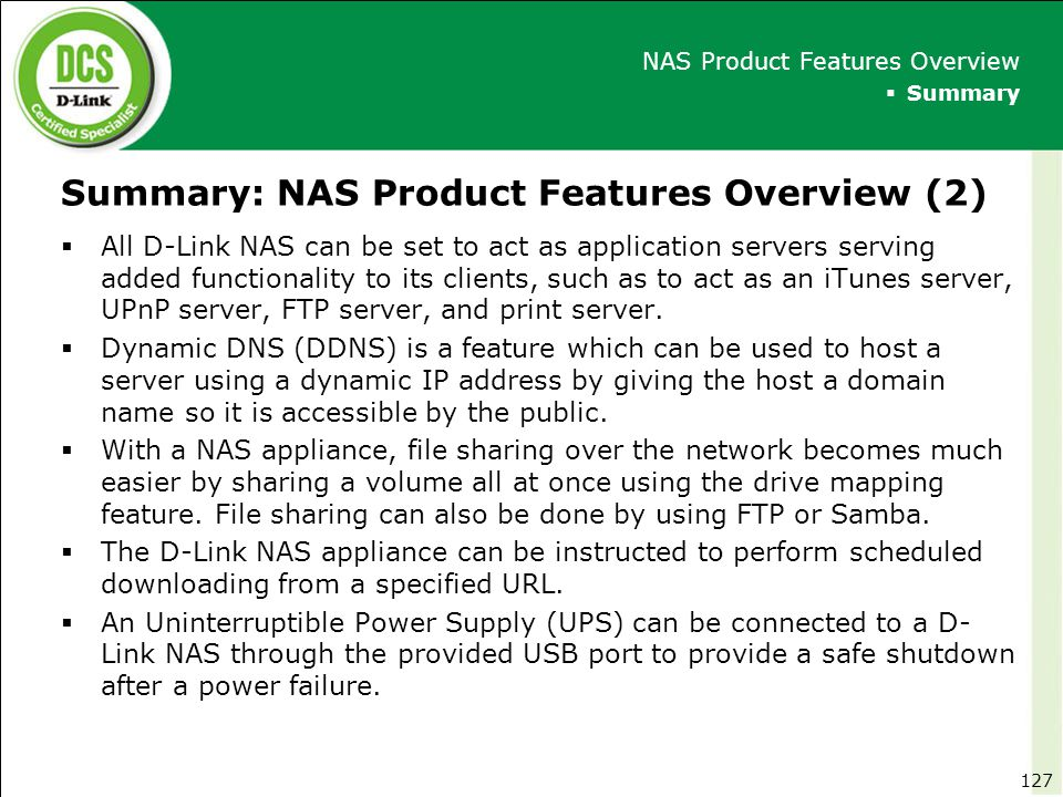 Summary: NAS Product Features Overview (2)