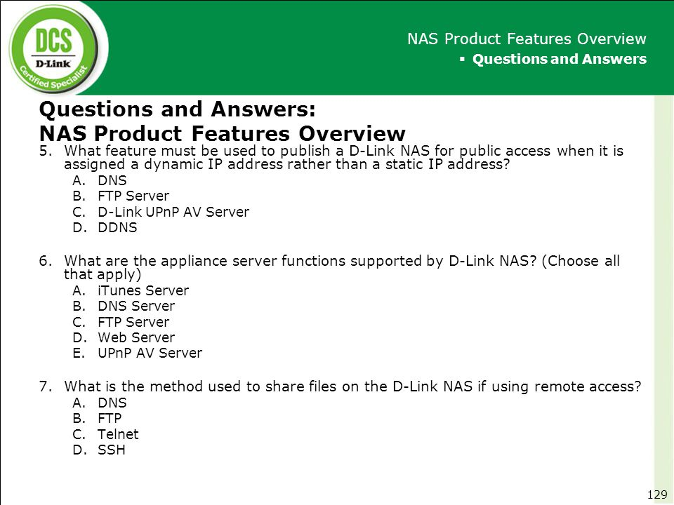 Questions and Answers: NAS Product Features Overview