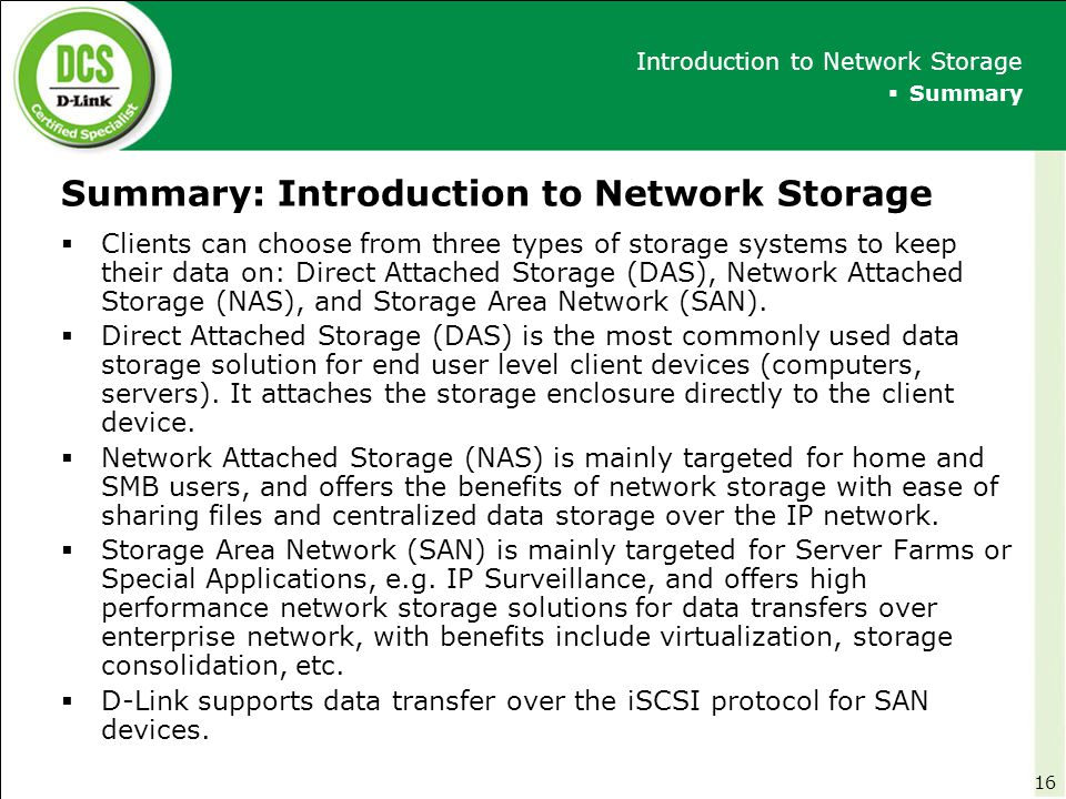 Summary: Introduction to Network Storage