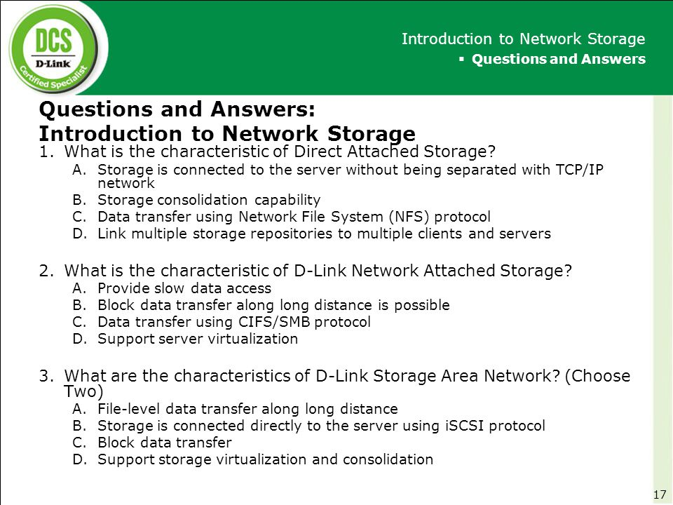 Questions and Answers: Introduction to Network Storage