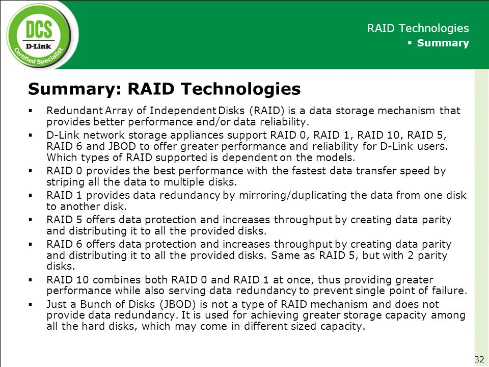 Summary: RAID Technologies