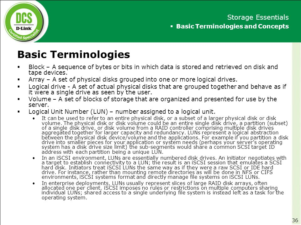 Basic Terminologies Storage Essentials