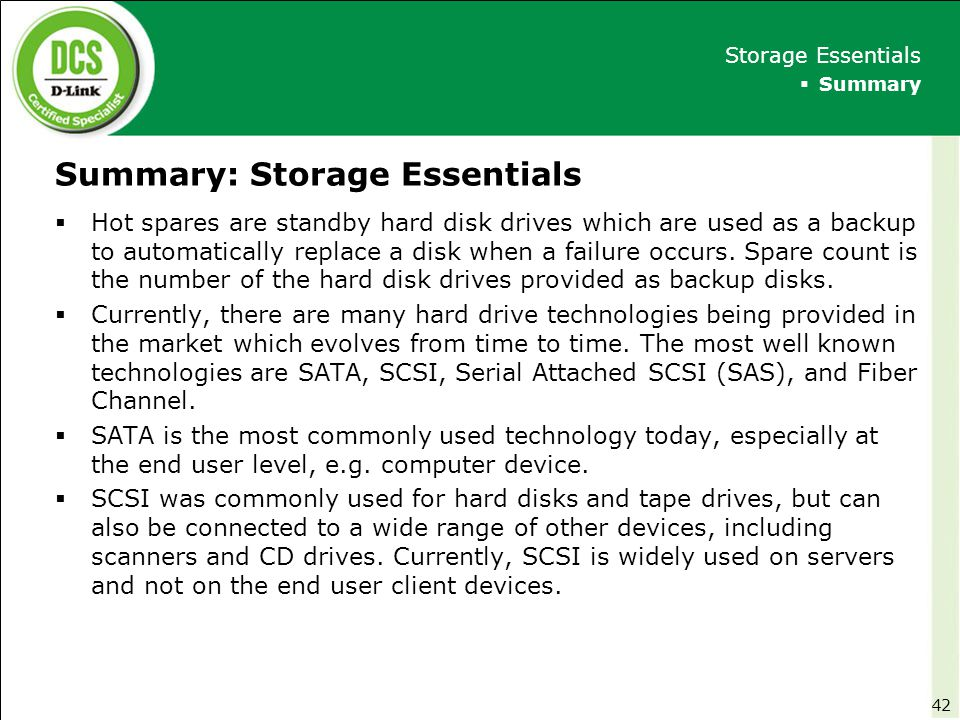 Summary: Storage Essentials