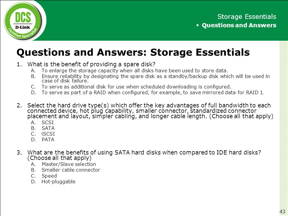 Questions and Answers: Storage Essentials