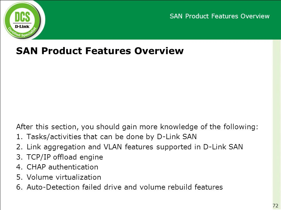 SAN Product Features Overview