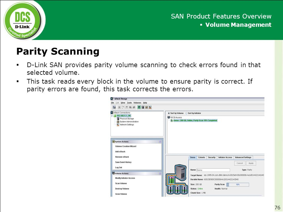 Parity Scanning SAN Product Features Overview