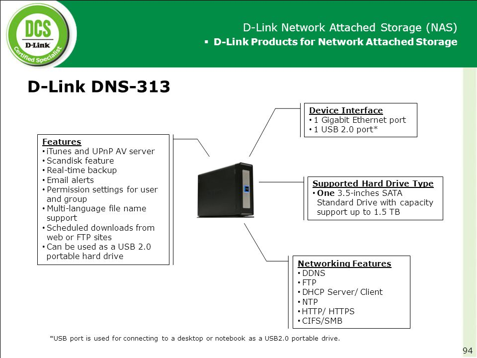 D-Link DNS-313 D-Link Network Attached Storage (NAS)