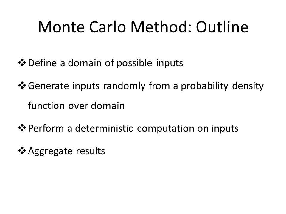 Monte Carlo Method: Outline