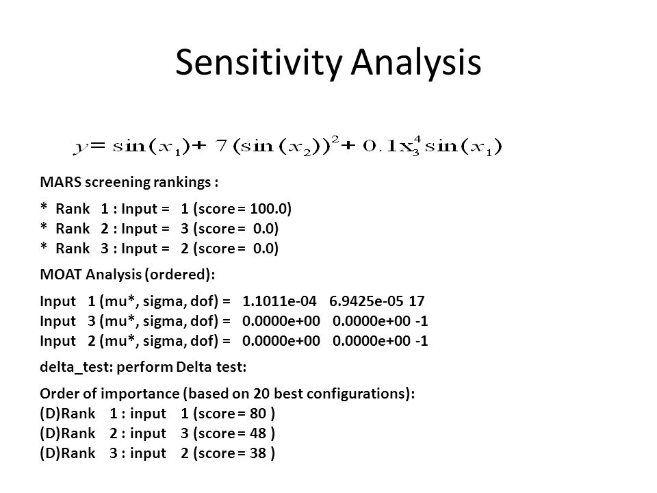 Sensitivity Analysis MARS screening rankings :