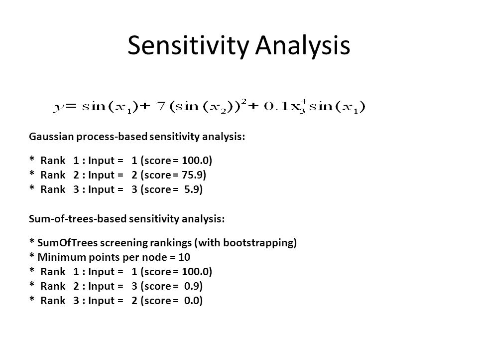 Sensitivity Analysis Gaussian process-based sensitivity analysis: