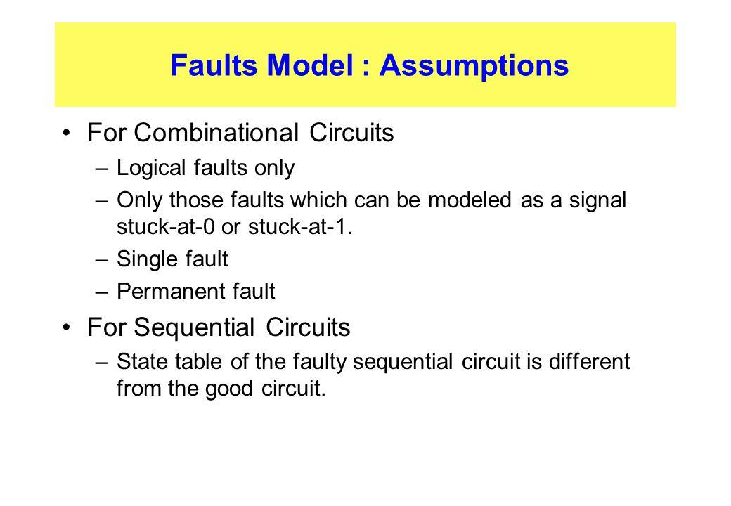 Faults Model : Assumptions