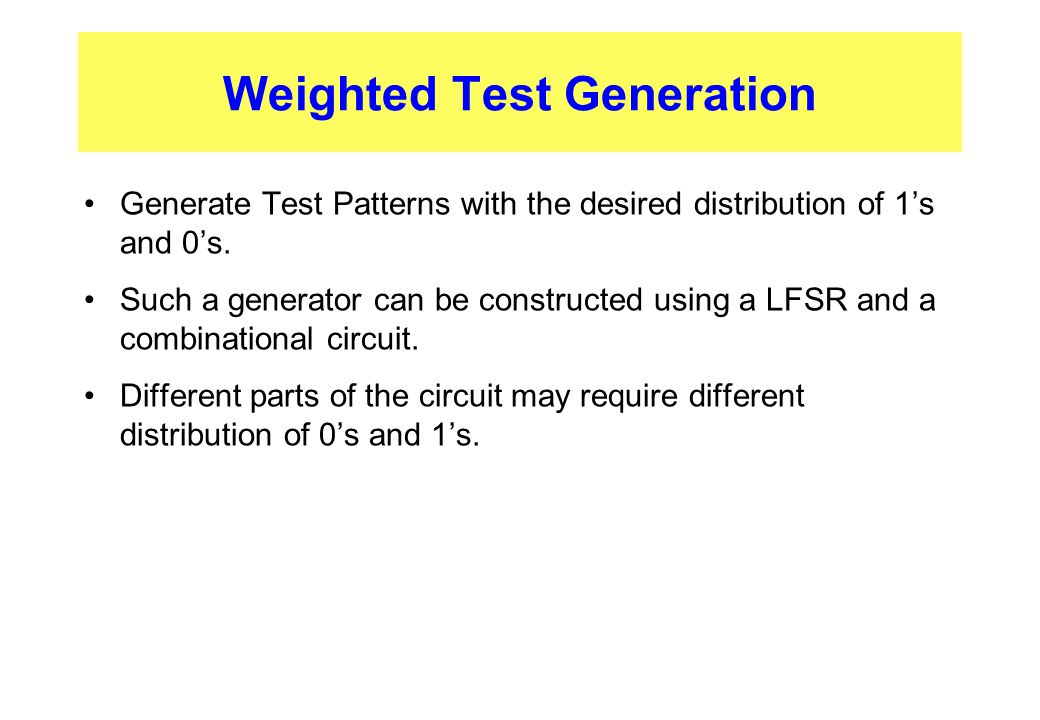 Weighted Test Generation
