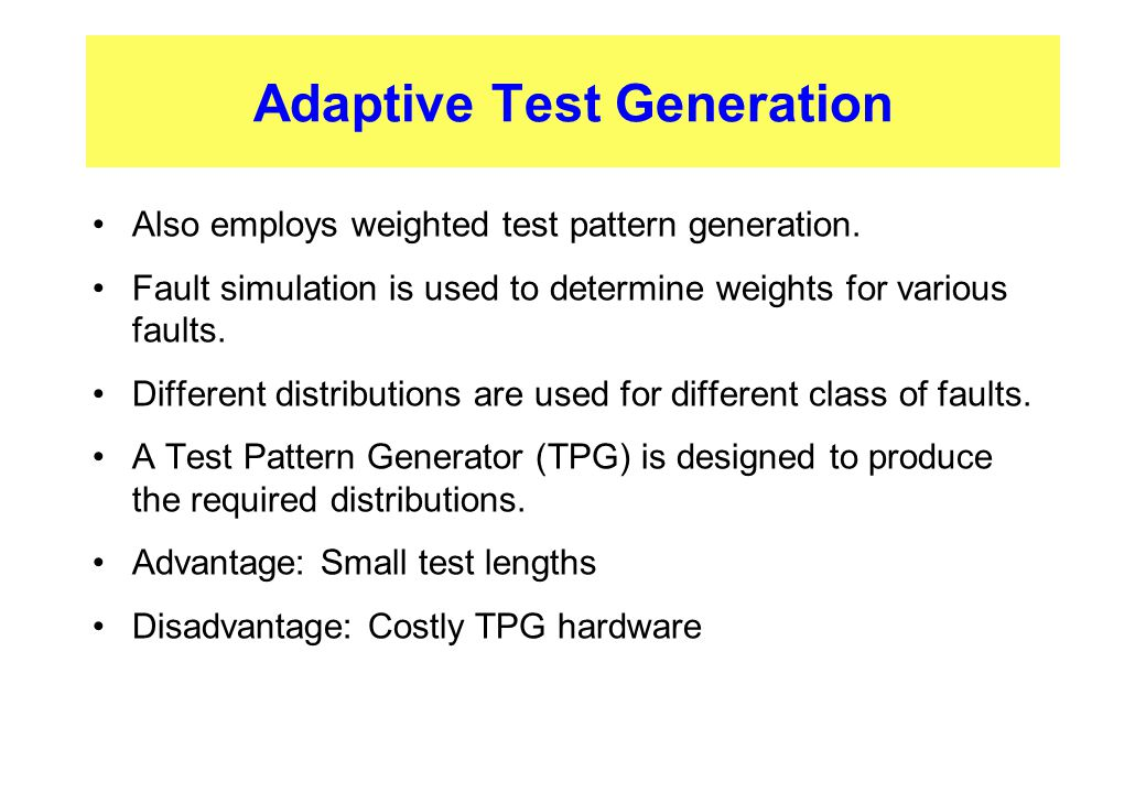 Adaptive Test Generation