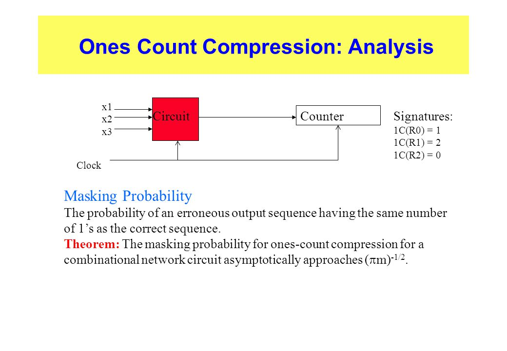 Ones Count Compression: Analysis