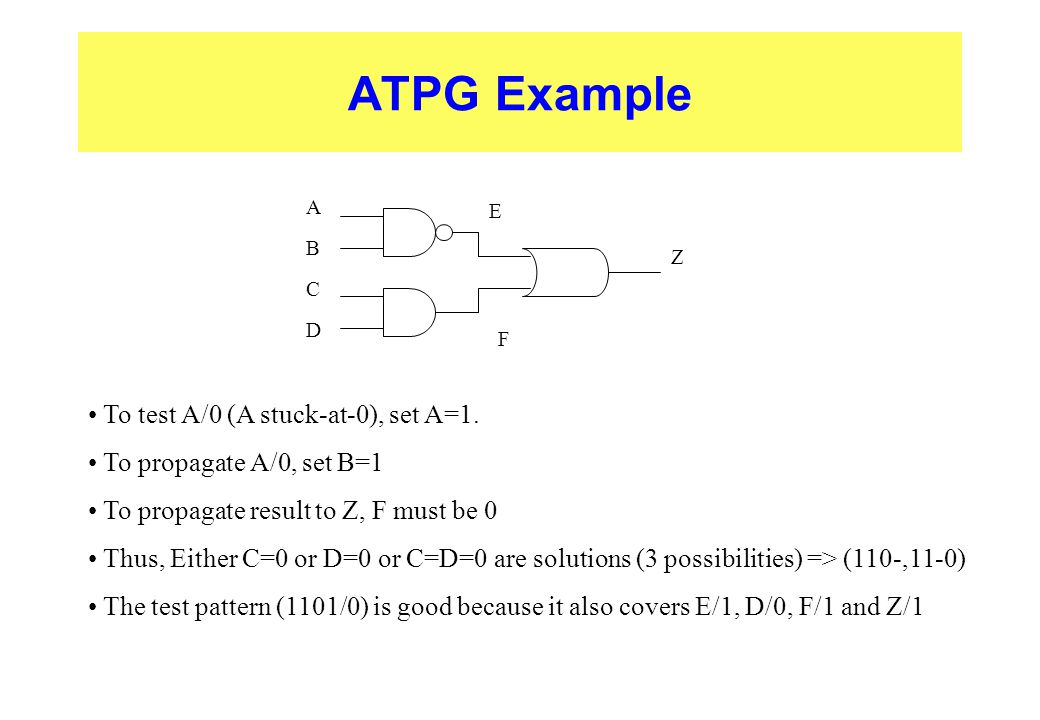 ATPG Example To test A/0 (A stuck-at-0), set A=1.