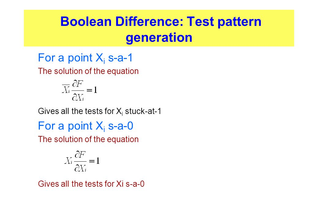 Boolean Difference: Test pattern generation