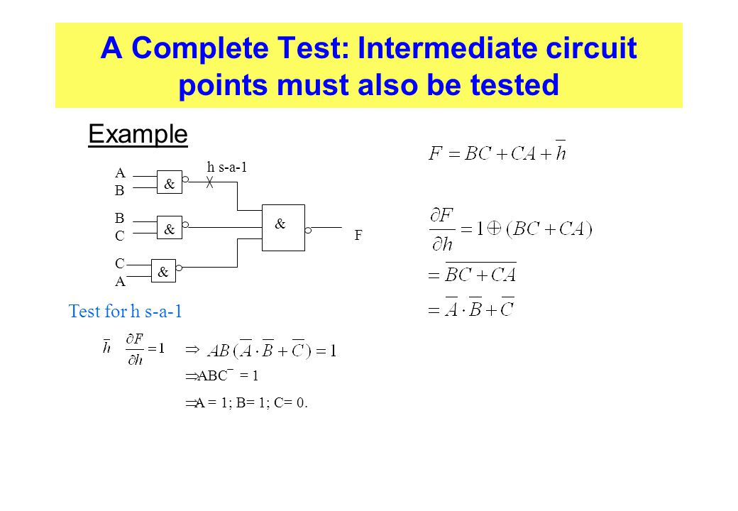 A Complete Test: Intermediate circuit points must also be tested