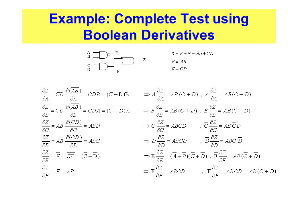 Example: Complete Test using Boolean Derivatives