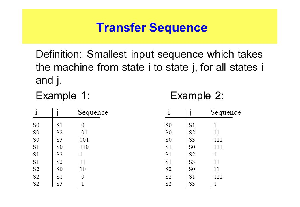 Transfer Sequence Definition: Smallest input sequence which takes the machine from state i to state j, for all states i and j.