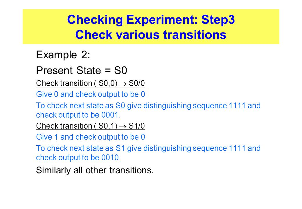 Checking Experiment: Step3 Check various transitions