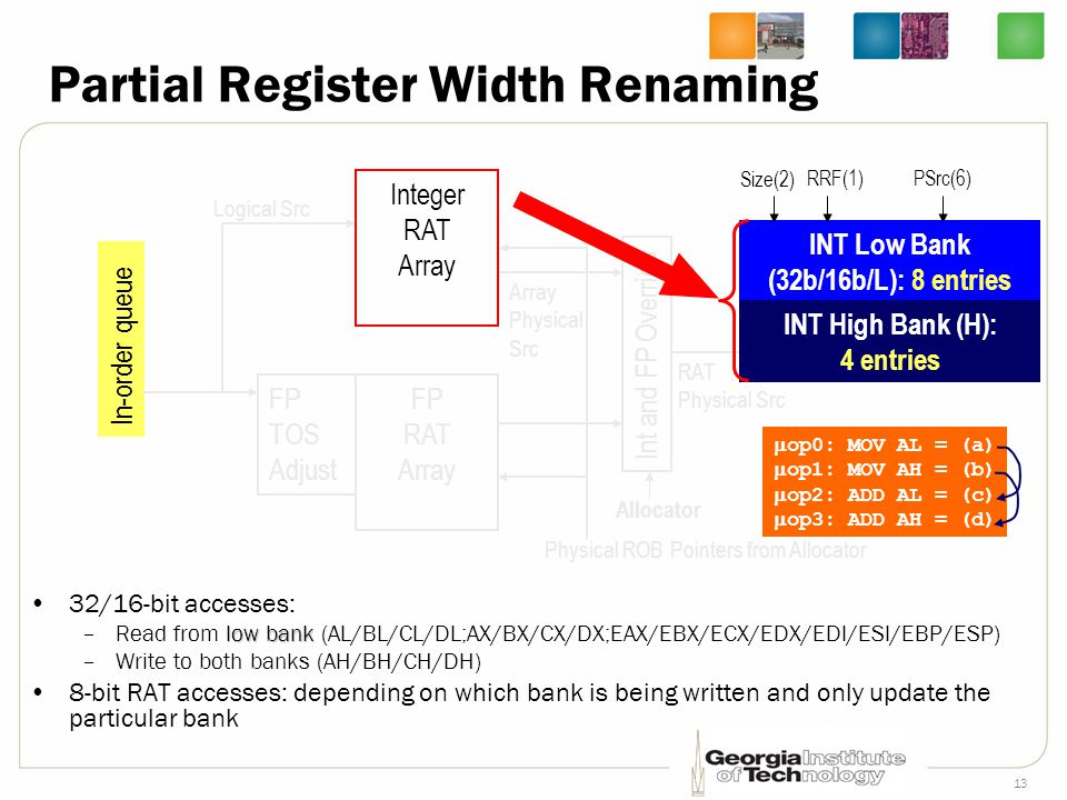Partial Register Width Renaming