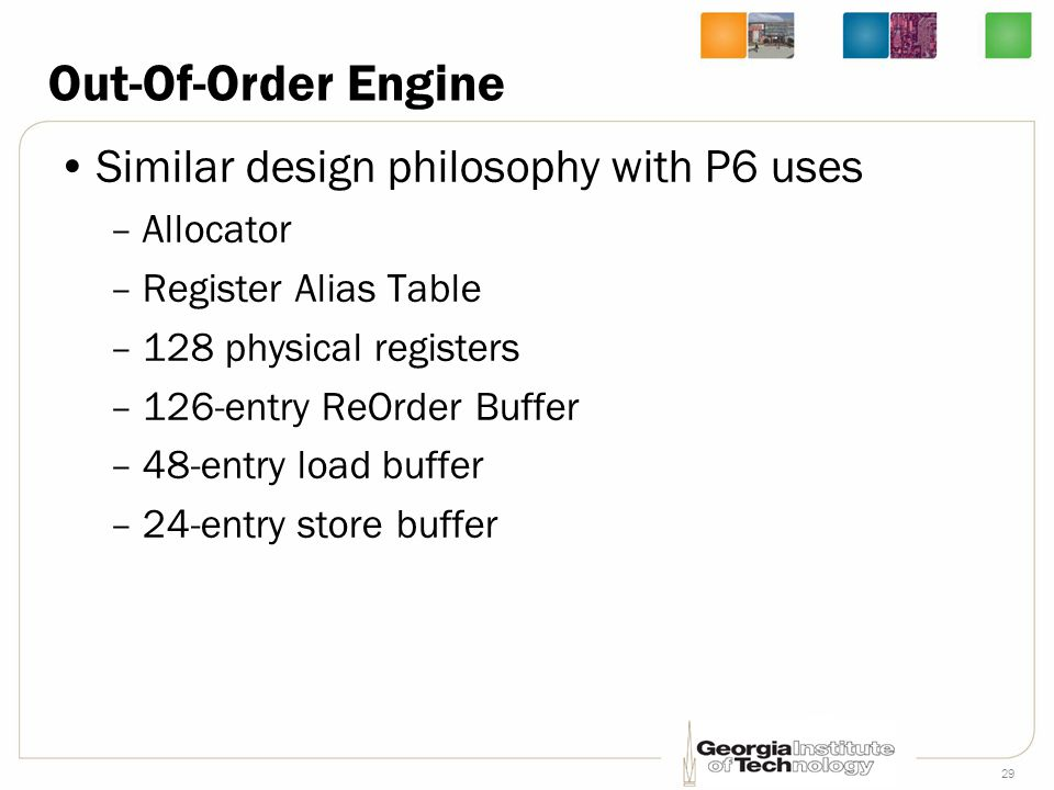 Out-Of-Order Engine Similar design philosophy with P6 uses Allocator