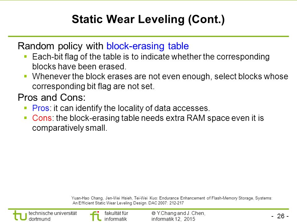Static Wear Leveling (Cont.)