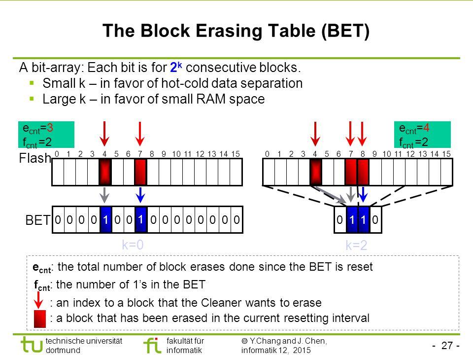 The Block Erasing Table (BET)