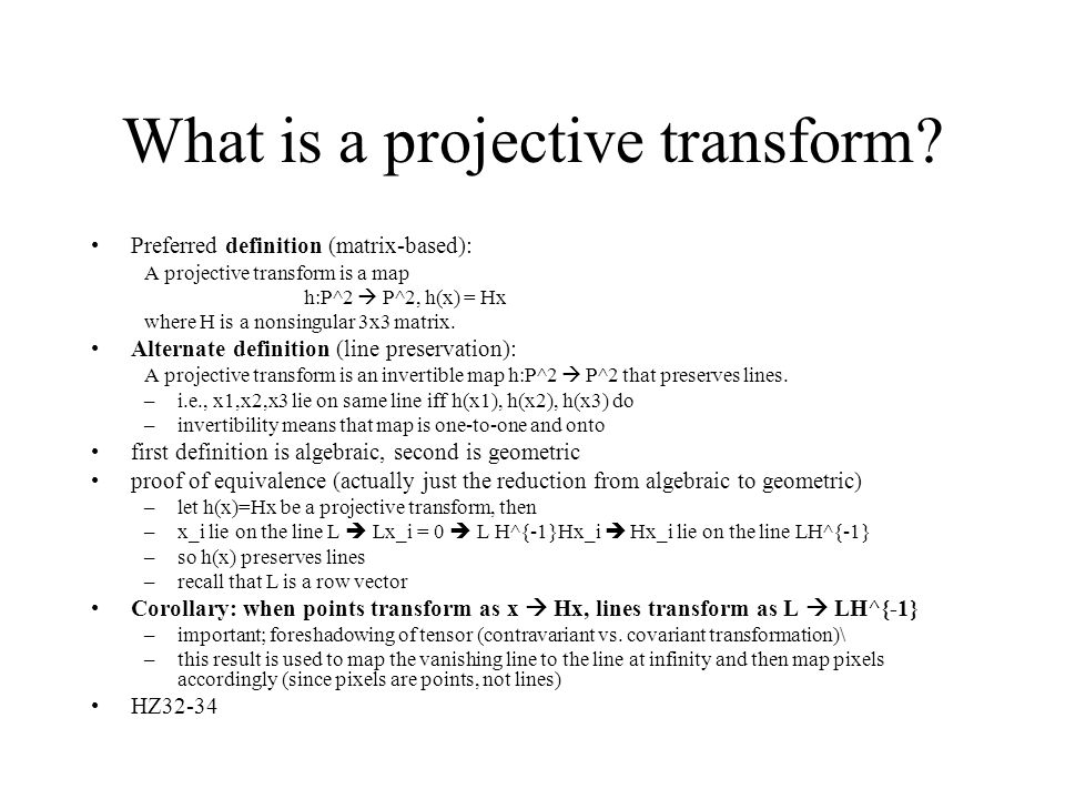 What is a projective transform