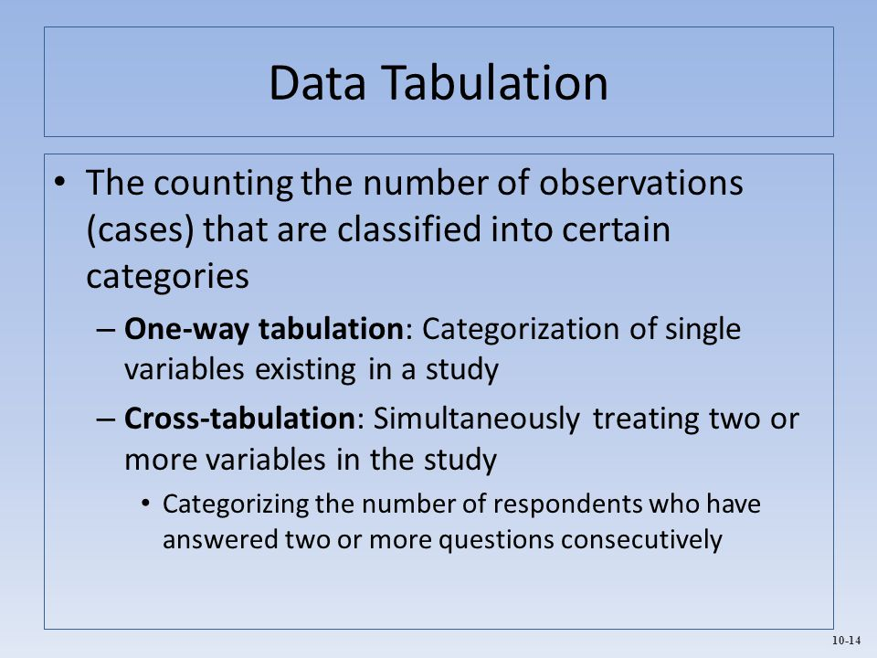 Data Tabulation The counting the number of observations (cases) that are classified into certain categories.