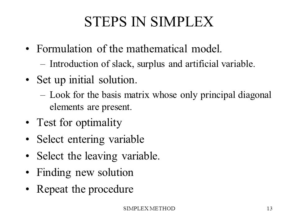 STEPS IN SIMPLEX Formulation of the mathematical model.