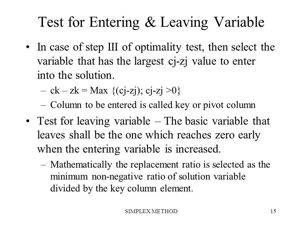 Test for Entering & Leaving Variable
