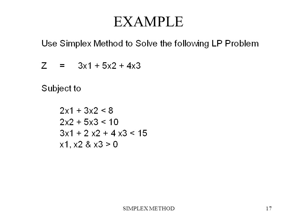 EXAMPLE SIMPLEX METHOD
