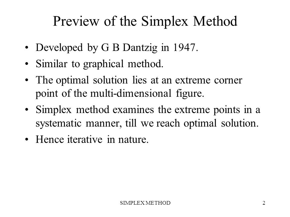 Preview of the Simplex Method