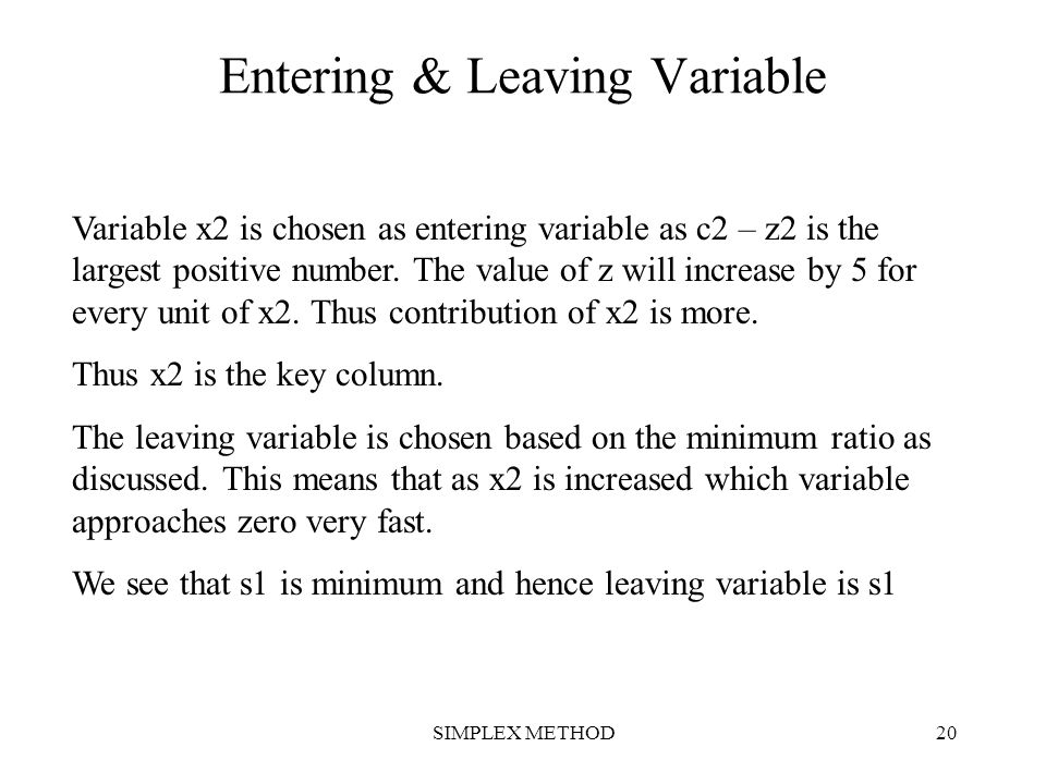 Entering & Leaving Variable