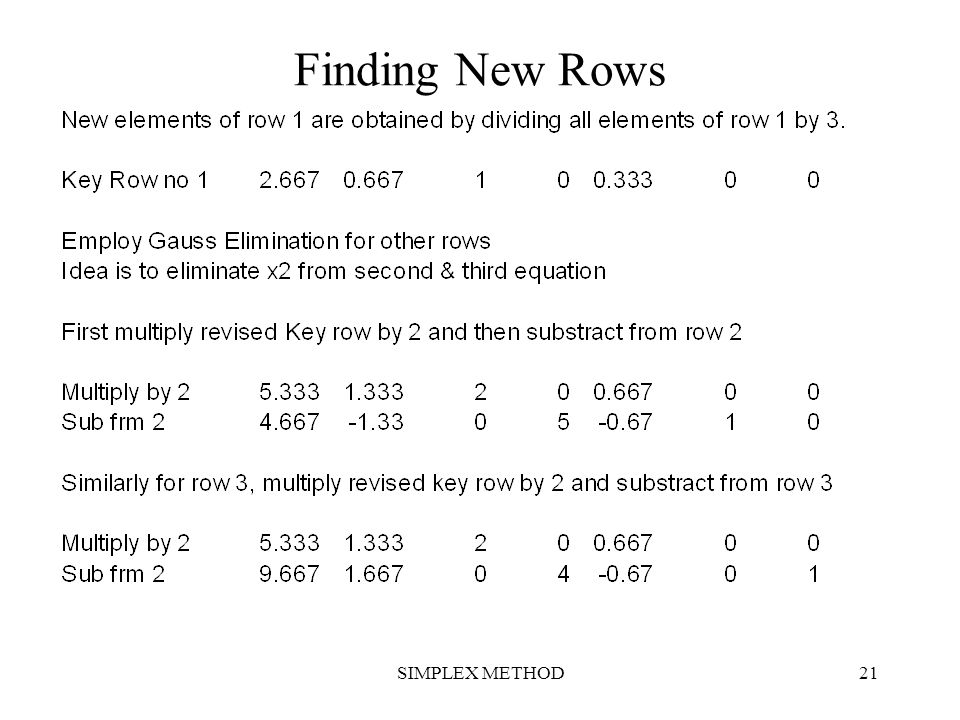 Finding New Rows SIMPLEX METHOD