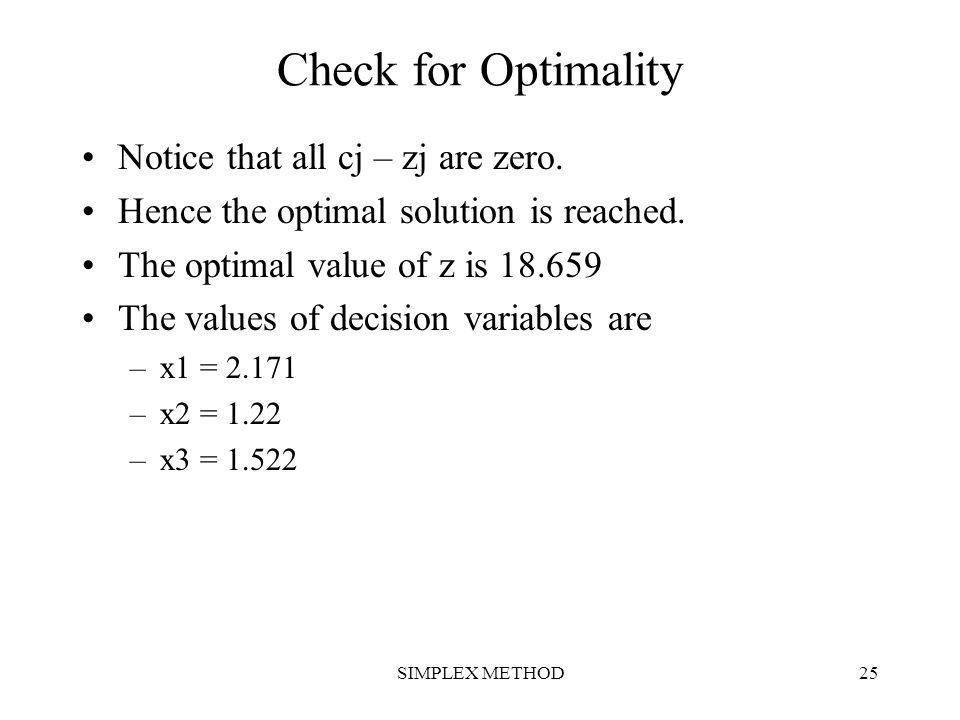 Check for Optimality Notice that all cj – zj are zero.