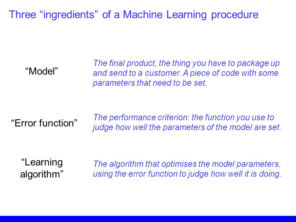 Three ingredients of a Machine Learning procedure