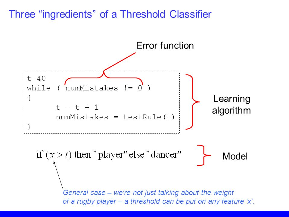 Three ingredients of a Threshold Classifier