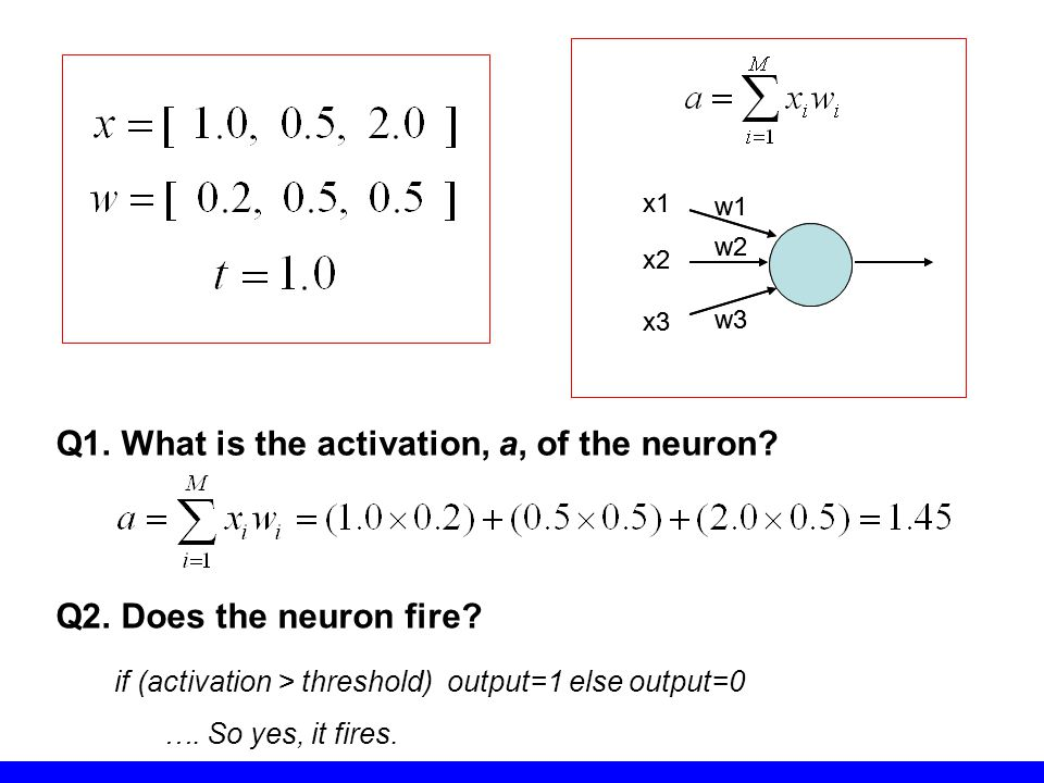 Q1. What is the activation, a, of the neuron