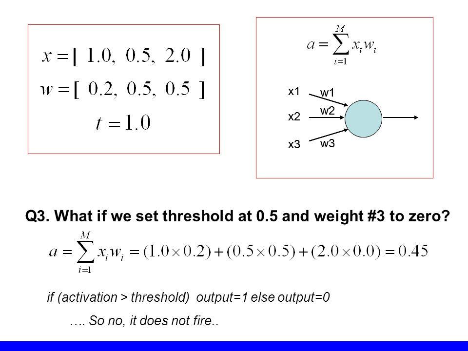 Q3. What if we set threshold at 0.5 and weight #3 to zero