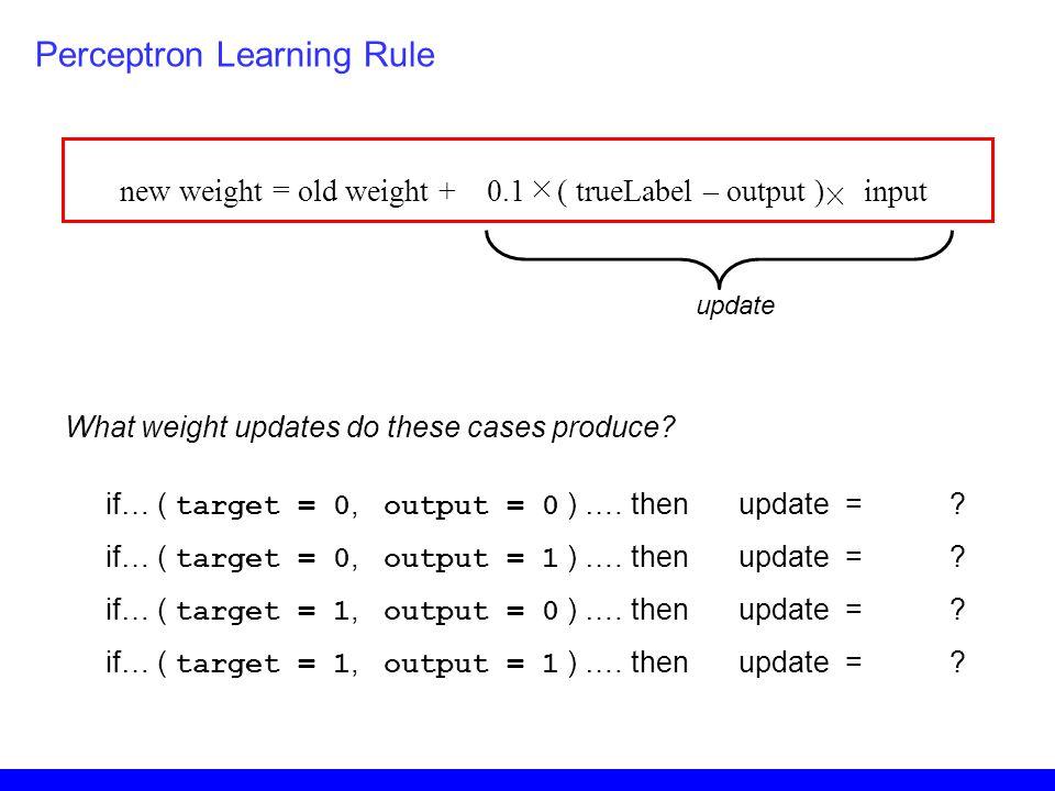 new weight = old weight + 0.1 ( trueLabel – output ) input