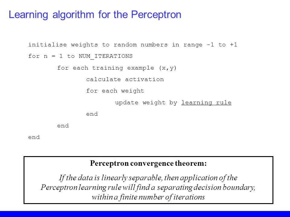 Perceptron convergence theorem: