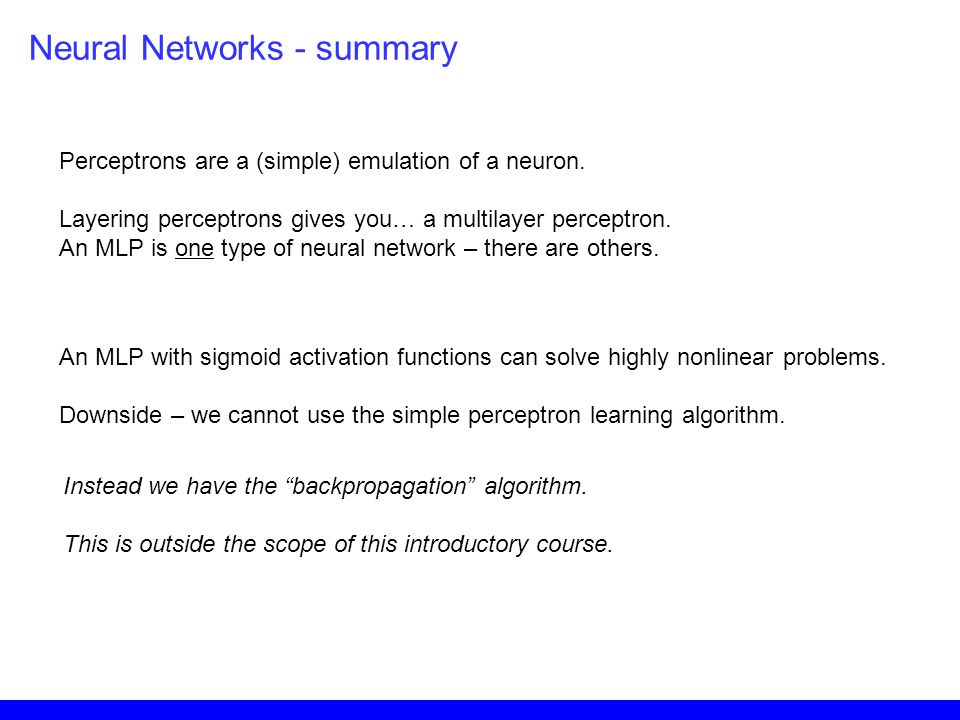 Neural Networks - summary