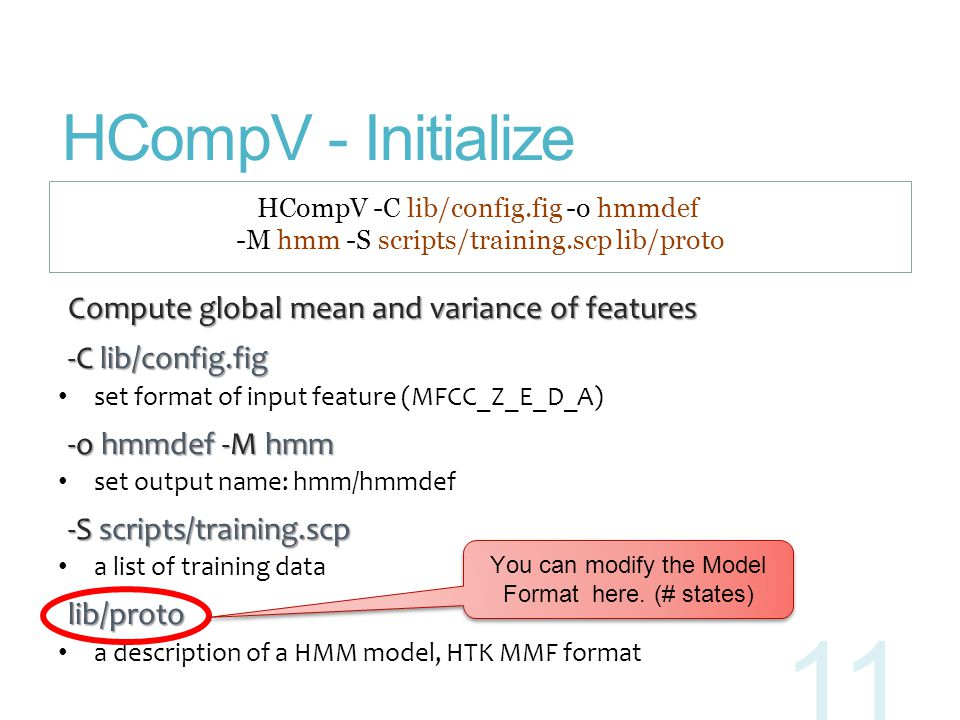 HCompV - Initialize Compute global mean and variance of features